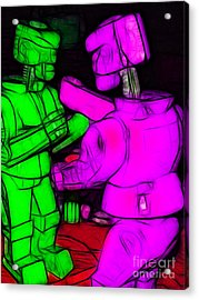 Rockem Sockem Robots - Color Sketch Style - Version 2 Acrylic Print by Wingsdomain Art and Photography