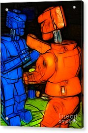 Rockem Sockem Robots - Color Sketch Style - Version 3 Acrylic Print by Wingsdomain Art and Photography