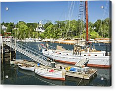 Rockport Harbor And Boats On The Coast Of Maine Acrylic Print by Keith Webber Jr