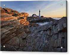 Rocks At Portland Head Acrylic Print by Eric Gendron