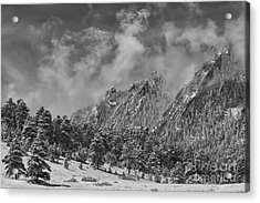Rocky Mountain Dusting Of Snow Boulder Colorado Bw Acrylic Print by James BO  Insogna