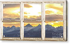 Rocky Mountain Sunset White Rustic Farm House Window View Acrylic Print by James BO  Insogna