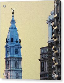 Rocky On Top Of City Hall Acrylic Print by Bill Cannon