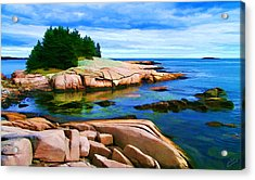Rocky Point At Great Waas Acrylic Print by Bill Caldwell -        ABeautifulSky Photography