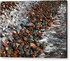 Rocky Shoreline Abstract Acrylic Print by James Peterson