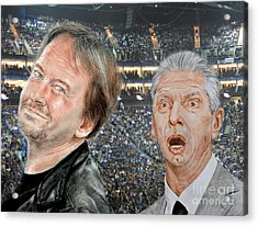 Roddy Piper And Vince Mcmahon  Acrylic Print by Jim Fitzpatrick
