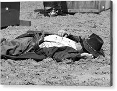 Rodeo Gunslinger Victim Bw Acrylic Print by Sally Rockefeller