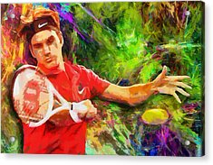 Roger Federer Acrylic Print by RochVanh
