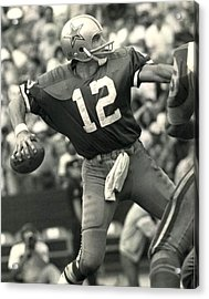 Roger Staubach Vintage Nfl Poster Acrylic Print by Gianfranco Weiss