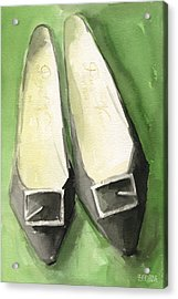 Roger Vivier Black Buckle Shoes Fashion Illustration Art Print Acrylic Print by Beverly Brown Prints