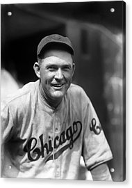 Rogers Hornsby Smiling In Cubs Jersey Acrylic Print by Retro Images Archive