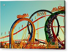 Rollercoaster At The Octoberfest In Munich Acrylic Print by Sabine Jacobs