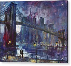 Romance By East River Nyc Acrylic Print by Ylli Haruni