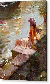 Romance In Venice Viola Acrylic Print by Ylli Haruni