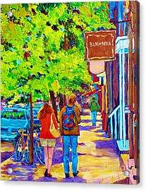 Romantic Stroll Along Rue Laurier Montreal Street Scenes Paintings Carole Spandau Acrylic Print by Carole Spandau
