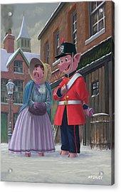 Romantic Victorian Pigs In Snowy Street Acrylic Print by Martin Davey