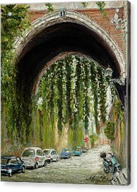 Rome Street Scene Acrylic Print by Mary Benke