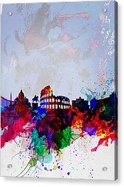 Rome Watercolor Skyline Acrylic Print by Naxart Studio
