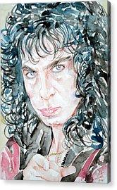 Ronnie James Dio Watercolor Portrait Acrylic Print by Fabrizio Cassetta