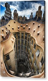 Rooftop With Chimneys Of Casa Mila Acrylic Print by George Oze