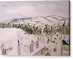 Snow Scenes In Watercolors Acrylic Print featuring the painting Rooftops by Peter Kundra