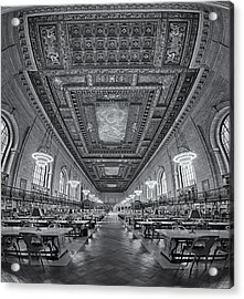 Rose Main Reading Room At The Nypl Bw Acrylic Print by Susan Candelario
