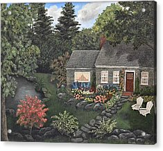 Rose Stone Cottage - Oil Painting Acrylic Print by Tami Elise