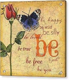 Roses And Butterflies 1 Acrylic Print by Debbie DeWitt