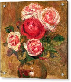 Roses In A Pot Acrylic Print by Pierre Auguste Renoir