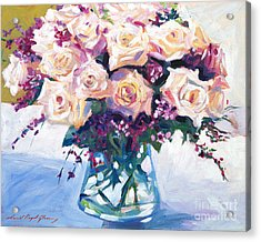 Roses In Glass Acrylic Print by David Lloyd Glover