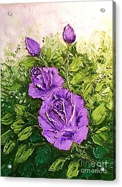 Roses In Lavender Acrylic Print by Peggy Miller