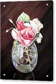 Roses In The Glass Vase Acrylic Print by Irina Sztukowski