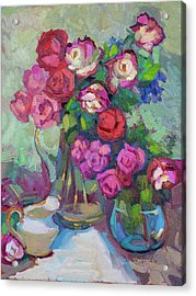 Roses In Two Vases Acrylic Print by Diane McClary