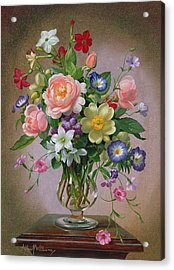 Roses Peonies And Freesias In A Glass Vase Acrylic Print by Albert Williams