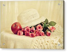 Roses With Apple Acrylic Print by Gynt Art