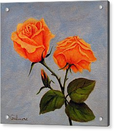Roses With Bud Acrylic Print by Roseann Gilmore