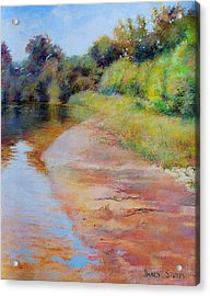 Rosy River Acrylic Print by Nancy Stutes