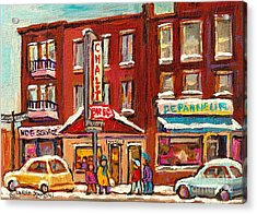 Rotisserie Le Chalet Bar B Q Sherbrooke West Montreal Winter City Scene Acrylic Print by Carole Spandau