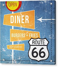 Route 66 Diner Acrylic Print by Linda Woods