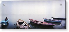 Row Boats In A River, Ganges River Acrylic Print by Panoramic Images