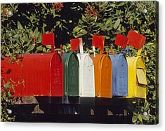 Row Of Colorful Mailboxes Acrylic Print by David Litschel