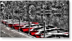 Row Of Red Rowing Boats Acrylic Print by Kaye Menner