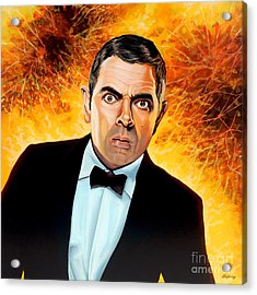 Rowan Atkinson Alias Johnny English Acrylic Print by Paul Meijering