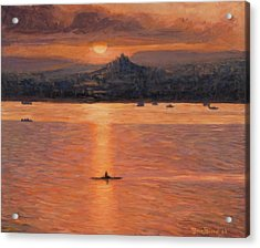 Rowing In The Sunset Acrylic Print by Marco Busoni