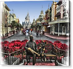 Roy And Minnie Mouse Walt Disney World Acrylic Print by Thomas Woolworth