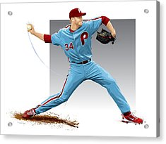Roy Halladay Acrylic Print by Scott Weigner