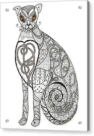 Fanciful Cat Acrylic Print featuring the drawing Royal Muse Gold by Melinda DeMent