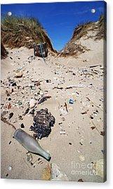 Rubbish On A Sand Dune Acrylic Print by Sami Sarkis