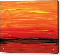 Ruby Shore - Red And Orange Abstract Acrylic Print by Sharon Cummings