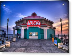 Ruby's Diner On The Pier Acrylic Print by Spencer McDonald